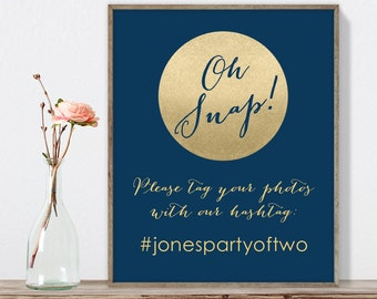 Wedding Hashtag Sign / Instagram Sign / Social / Gold Sparkle Wedding Sign / Metallic Gold and Navy ▷ Printable File {or} Printed & Shipped
