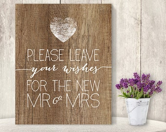 Please Leave Your Wishes Sign // Wedding Wishes Sign DIY // Rustic Wood Sign, Calligraphy Printable ▷ Instant Download