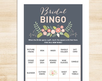 Bridal Shower Bingo Game DIY // Coral & Gray // Floral Bridal Bingo Printable PDF // Wedding Shower Game // 50 Cards ▷ Instant Download