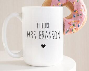 """Minimalist Engagement Gift Idea under 25, Engagement Mug Personalized, Custom Name """"I Said Yes"""" Coffee Mug, Black & White Farmhouse"""