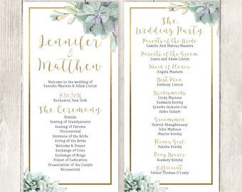 Succulent Wedding Program / Greenery and Gold Geometric / Green Cactus and Gold Calligraphy ▷ Printable File {or} Printed & Shipped