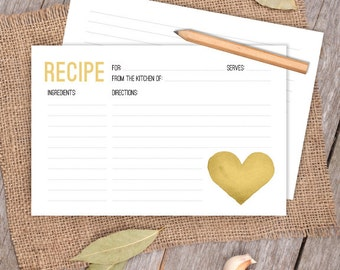 Yellow Gold Watercolor Heart Card // Whimsical 4x6 Recipe Card DIY // Bridal Shower Card, Kitchen Shower Printable PDF ▷ Instant Download