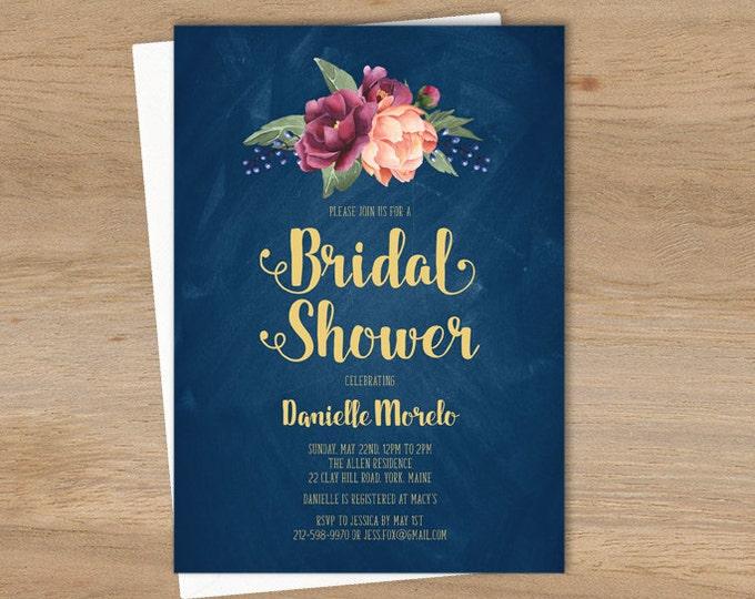 Rustic Bridal Shower Invitation / Peonies, Berries, Navy Chalkboard, Blush Ranunculus, Gold and Navy  ▷ Printed Heavy Paper {or} Printable