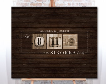 Rustic Guest Book Alternative, Boho Wedding Guest Book Canvas, Family Established Date Sign, Sepia Photos & Dark Wood