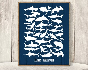 Nautical Baby Shower Guest Book Alternative / Fish Guest Book, Shark Sign / Baby Shower, Navy Baby ▷ Printable File {or} Printed & Shipped