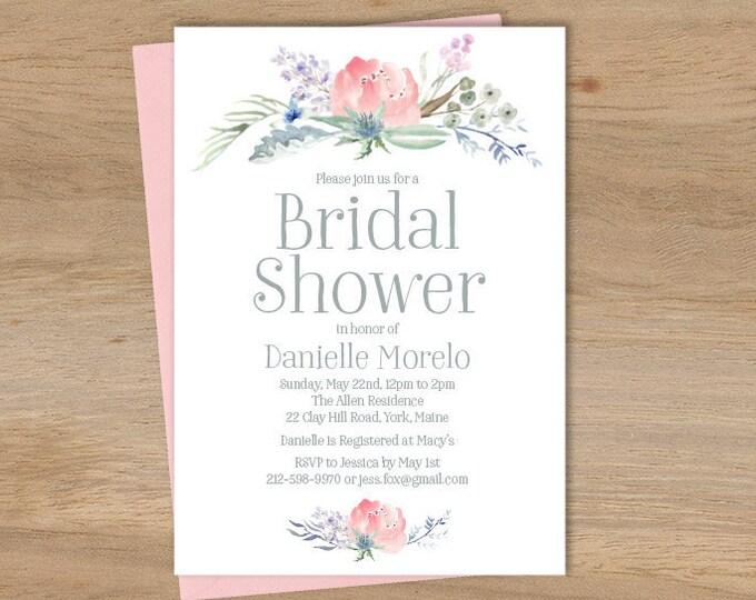 Boho Bridal Shower Invitation / Blush Flowers, Boho Flowers, Bohemian Greenery, Wildflowers, Blush  ▷ Printed Heavy Paper {or} Printable