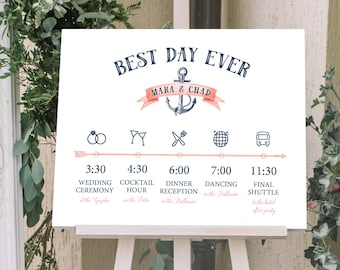 Nautical Schedule of Events Sign, Wedding Agenda, Navy Wedding Schedule for Beach Wedding > PRINTED Sign for Wedding {or} Printable Sign