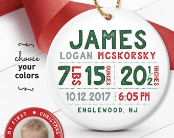 My First Christmas Ornament, Personalized Baby Boy Gift, Birth Stats Ornament with Photo, Under 50 Gift for Grandparents