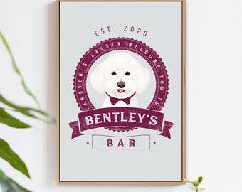 Pet Portrait Sign > labradoodle wedding decoration canvas art, custom dog bar wall print, rustic sangria pet portrait of dog of honor