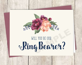 Will You Be Our Ring Bearer Card DIY Printable / Burgundy Peony Berry Bouquet, Peach Blush Pink Ranunculus, Fall ▷ Instant Download PDF