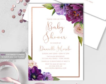 Purple Baby Shower Invitation / Purple Flowers, Anemone, Peony, Ranunculus, Rose Gold / Baby Sprinkle ▷ Printed Heavy Paper {or} Printable
