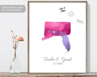 Map Wedding Guest Book - Watercolor Map Guestbook for Wedding with State Maps with Heart, Canvas or Digital Download, Long Distance Wedding