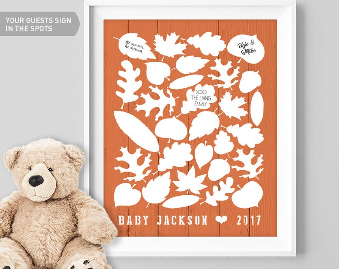 Orange Baby Shower Guest Book Alternative / Fall Leaves, Maple Leaf, Woodland Guest Book / Fall Baby Shower ▷ Canvas, Paper {or} Printable