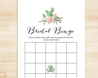 Bridal Shower Bingo Game DIY // Succulent Cactus, Mexican // Fiesta Bridal Bingo Printable PDF // Wedding Shower Game ▷ Instant Download