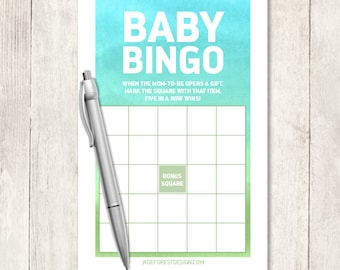 Baby Shower Bingo Game DIY / It's a Boy / Ombre Watercolor, Turquoise Blue and Green, Blue Ombre / Baby Bingo Printable ▷Instant Download