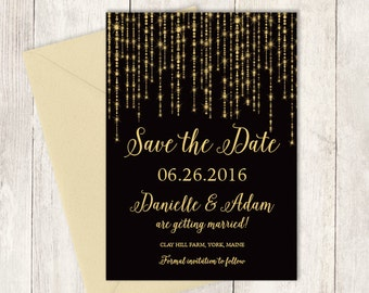 Elegant Save The Date DIY / Great Gatsby Bokeh String Light / Black and Gold Calligraphy ▷ Printed Wedding Invitations {or} Printable