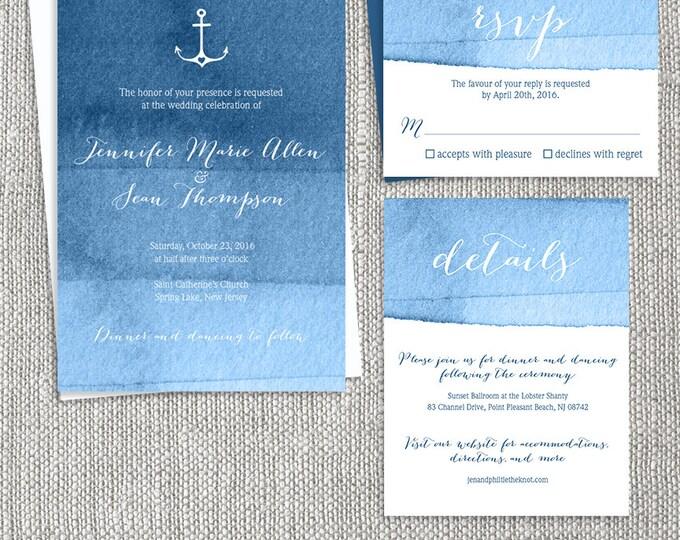 Nautical Wedding Invitation Set / Ombre Navy Watercolor Printable Wedding Suite ▷ Printed Wedding Invitations {or} Printable