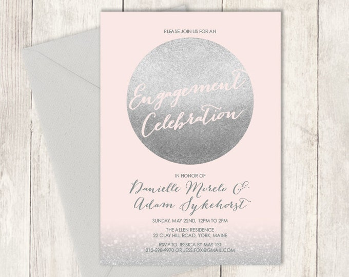 Silver Engagement Party Invitation DIY / Metallic Silver and Blush Pink / Blush and Gray ▷ Printed Wedding Invitations {or} Printable