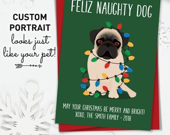 Funny Christmas Card, Pug Christmas Cards with Custom Pet Portrait, Funny Dog Holiday Card for Pug Parents