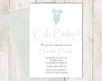 Mint Baby Shower Invitation DIY / Gender Neutral Baby Shower / Mint and Gray Onesie / Modern Baby / Feathery Calligraphy ▷ Invite Printable