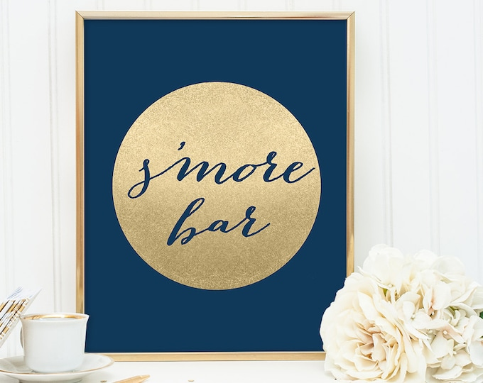 S'more Bar Sign / Dessert / Navy and Gold Wedding Sign DIY / Metallic Gold Sparkle Circle / Champagne Gold and Navy ▷ Instant Download JPEG