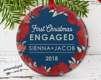 First Engaged Christmas Ornament, Personalized Ornament, Christmas Engagement Gift Idea, Red and Navy Blue