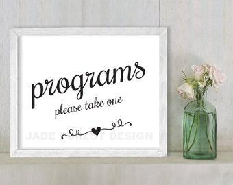 Programs, Please Take One // Wedding Sign DIY // Elegant Calligraphy Printable Poster PDF // Classic Elegance ▷ Instant Download