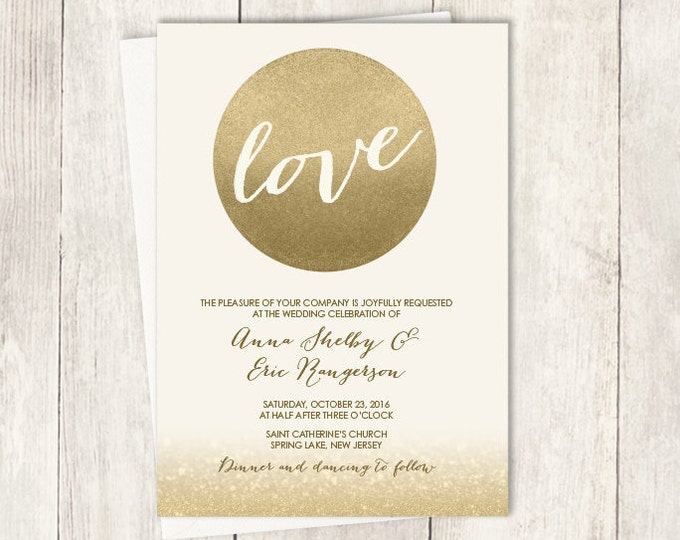 Gold Sparkle Wedding Invitation / Metallic Gold and Cream / Champagne Gold ▷ Printable File {or} Printed & Shipped