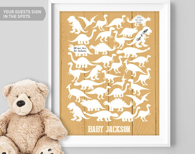 Gold Baby Shower Guest Book Alternative / Yellow Dino, T rex, Raptor Guest Book / Dinosaur Baby Shower ▷ Canvas, Paper {or} Printable