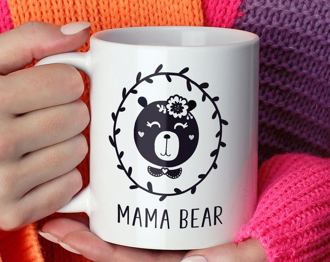 Mama Bear Mug, Black and White Hygge Gift Idea under 20, Scandinavian Gift For New Mom, Funny Bear Coffee Mug, Minimalist Tea Mug