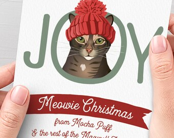 Tabby Cat Christmas Card > Funny Christmas Cards with Cute Cat in Hat Portrait, Custom Pet Portrait Xmas Card for Cat Lover
