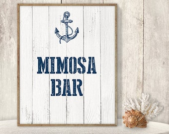 Mimosa Bar Sign // Wedding Reception Bar Sign DIY // Nautical Sign, Navy Anchor Printable PDF // Nautical Planks ▷ Instant Download