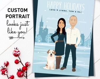 Portrait Holiday Card, Custom Cartoon Illustration Christmas Cards, Custom Family Portrait