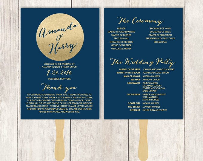 Gold Wedding Program DIY / Gold Sparkle Glitter / Metallic Gold and Navy / Bridal Schedule ▷ Printable {or} Printed *** ASSEMBLY REQUIRED