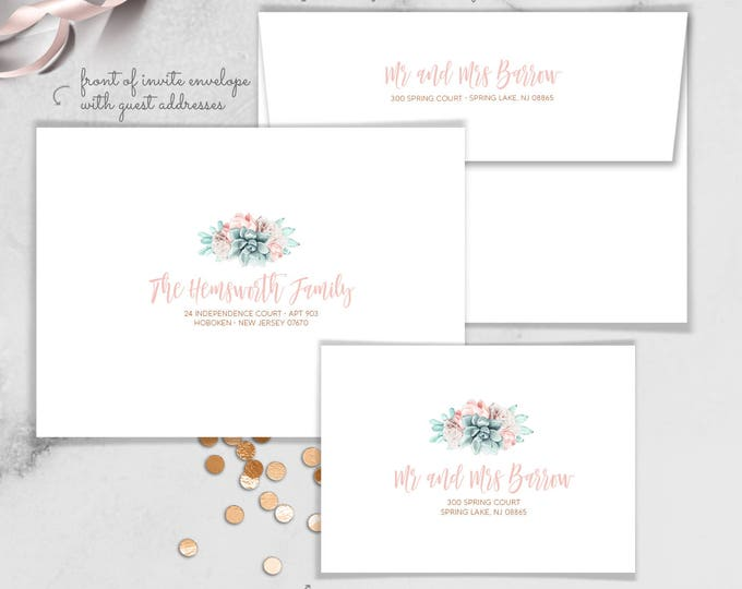Succulent Envelopes with Guest & Return Address Printing / Blush Succulent Bouquet Copper Watercolor Cactus ▷ INVITE {or} RSVP Envelopes