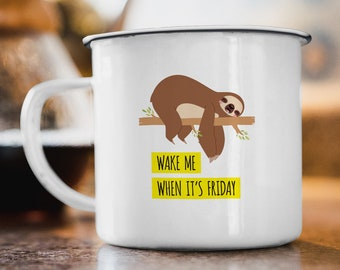 Funny Sloth Mug, Neon Yellow Campfire Coffee Mug, Best Friend Christmas Gift Idea, Lazy Sloth Stocking Stuffer, Wake Me Friday