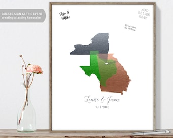 Wedding Alternative Guestbook / Three State Map Guest Book / Faux Metallic Silver & Green Map Guestbook▷Canvas, Paper, Board {or} Printable