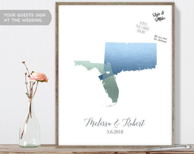 Wedding Map Guest Book Alternative / States Map / Faux Metallic Blue Map Guestbook / Guest Sign In ▷Canvas, Paper, Board {or} Printable