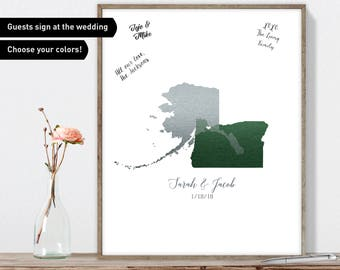 Map Wedding Guest Book Alternative / Love Map: Oregon & Alaska Map / Faux Metallic Forest Green, Silver Guestbook / Canvas or Framed Print