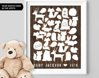 Woodland Animals, Baby Shower, Guest Book Sign, Canvas Guest Book, Sign Our Guestbook, Rustic Guest Book, Custom Guest Book, Printable