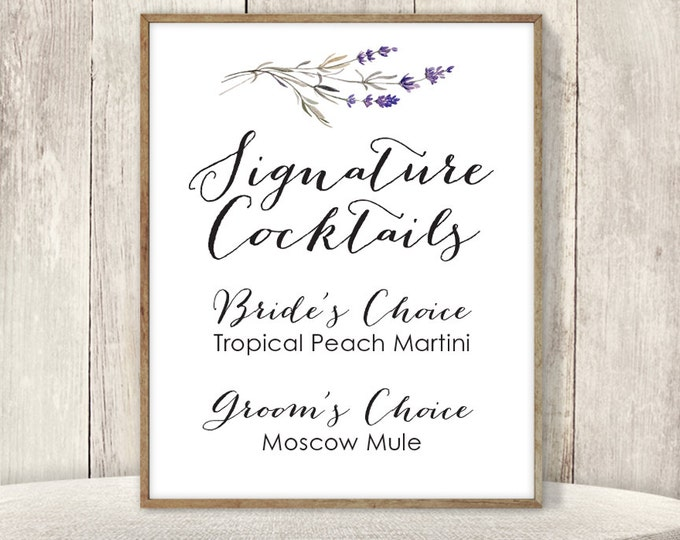 Rustic Signature Cocktail Sign / His and Hers Drink / Purple Flowers, Lavender Twig / Custom Sign ▷ Printable File {or} Printed & Shipped
