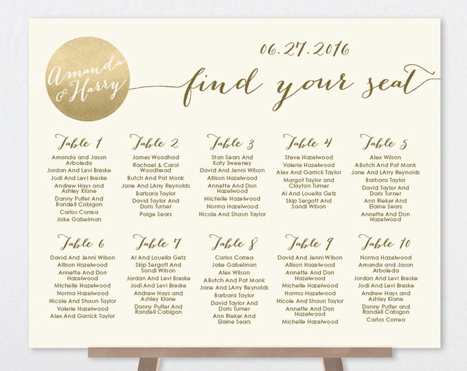 Gold Seating Chart Sign / Gold Sparkle Wedding Sign / Metallic Gold and Cream / Seating Sign ▷ Printable File {or} Printed & Shipped