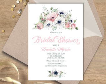 Boho Bridal Shower Invitation / Blush, White and Greenery, Anemone, Pink Peony Rose / Blush and Gray  ▷ Printed Heavy Paper {or} Printable