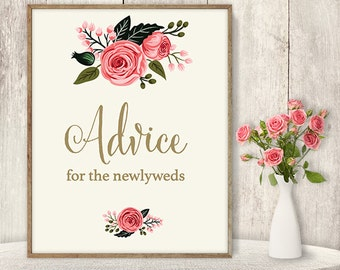 Advice For The Newlyweds Sign / Floral Wedding Advice Sign DIY / Watercolor Flower Poster Printable / Gold, Pink Rose ▷ Instant Download