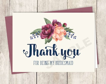 will you be my bridesmaid card diy printable burgundy peony etsy