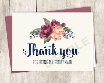 Thank You... Bridesmaid Card DIY Printable / Burgundy Peony Berry Bouquet, Peach Blush Pink Ranunculus, Fall Wedding ▷ Instant Download PDF