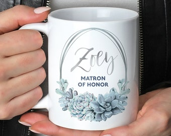 Personalized Matron of Honor Mug, Slate Blue Bridal Party Gift under 25, Custom Name Bride Tribe Coffee Mug, Silver Dusty Blue Succulent