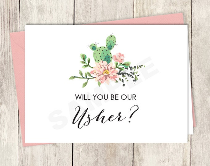 Rustic Will You Be Our Usher Card DIY Printable / Wedding Card / Cactus Succulent, Coral Flower Wreath Fiesta ▷ Instant Download