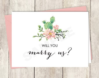 Rustic Will You Marry Us Card DIY Printable / Wedding Card / Cactus Succulent, Coral Flower Wreath Fiesta ▷ Instant Download
