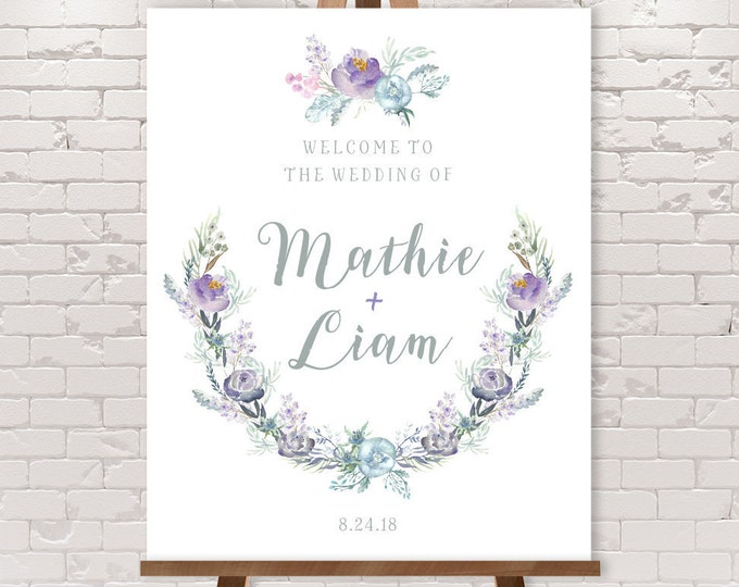 Boho Wedding Welcome Sign / Purple Flowers, Purple Bouquet, Bohemian Greenery, Purple and Gray ▷ Printable File {or} Printed & Shipped